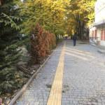 Світлина. Спеціальний тротуар для слабозорих людей облаштовують на вул. Терешкової в Одесі. Безбар'ерність, тактильна плитка