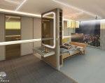 Создан дизайн гостиничной комнаты для людей с ограниченными возможностями (ВИДЕО). гостиница, дизайнер, инвалид, концепция комнаты, шрифт брайля, floor, indoor, furniture, interior, design, hotel, cabinetry, home, shelf, ceiling. A large white tub sitting next to a window