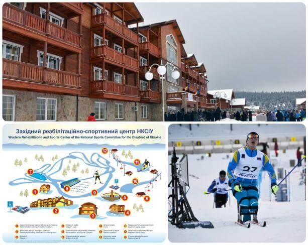 На Львівщині дали старт зимовому Кубку світу серед спортсменів-паралімпійців. львівщина, зимовий кубок світу, змагання, спортсмени-паралімпійці, інвалід, outdoor, skiing, snow. A group of people riding skis on top of a building
