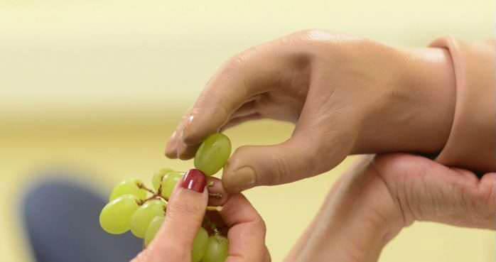У США створили протез руки, що дозволяє відчувати предмети (ВІДЕО). сша, клінічні дослідження, пацієнт, протез руки, технологія neph, person, nail, hand, finger. A hand holding a yellow frisbee
