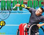 У Харкові пройде турнір для тенісистів-візочників. kharkov open, харків, тенісист-візочник, турнір, інвалід, tennis, person, sports equipment, bicycle, racket, furniture, tennis racket, ball, racquet sport, basketball. A person holding a bicycle