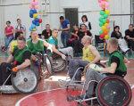 В Виннице инвалиды на колясках играли в регби (ФОТО). винница, инвалид, инвалидность, регбі, региональный турнир, person, wheelchair, several. A group of people in a room