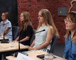 У Харкові з'явився майданчик, де експерти обговорюватимуть питання інклюзивної освіти. харків, майданчик, інвалідність, інклюзивна освіта, інклюзія, person, table, clothing, woman, human face, people, group, smile, computer. A group of people sitting at a table