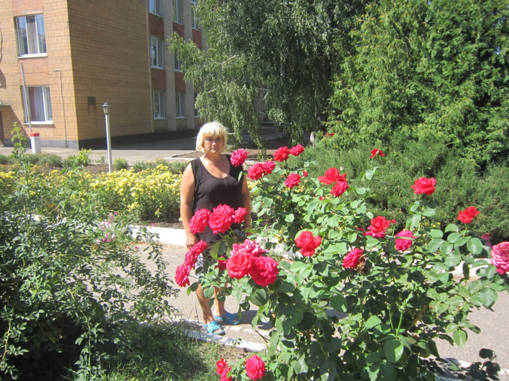 Є бажання працювати – буде і робота. компаніївка, адаптація, вади здоров'я, працевлаштування, центр зайнятості, tree, outdoor, flower, clothing, person, red, woman, plant, rose, garden. A person sitting on a red flower in a garden