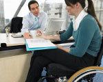 Про деякі трудові гарантії для працюючих інвалідів. мсек, працівник, роботодавець, інвалід, інвалідність, person, woman, clothing, indoor, computer. A woman sitting at a table