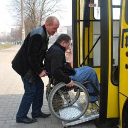 Транспорт для візочників: як людей з обмеженими можливостями перевозитимуть у Рівному. рівне, візочник, громадський транспорт, пандус, інвалідний візок, outdoor, person, transport, land vehicle, wheel, vehicle. A man sitting on a bus