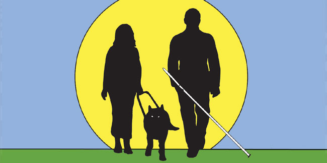15 жовтня – Міжнародний день білої тростини. міжнародний день білої тростини, незрячий, обмеженими фізичними можливостями, сліпий, інтеграція, abstract, cartoon, dog, carnivore, person, silhouette. A drawing of a person
