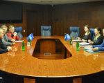 Керівництво ФФУ зустрілося з представниками CAFE. cafe, ффу, робоча зустріч, футбол, інвалідність, indoor, table, wall, person, furniture, ceiling, laptop, computer, desk, room. A group of people sitting at a table