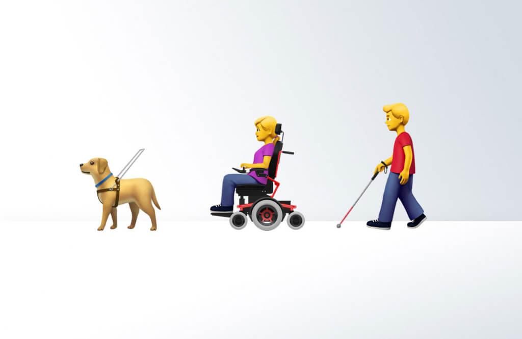 Apple запропонувала емодзі із зображенням інвалідності. apple, емодзі, зображення, пропозиція, інвалідність, cartoon, dog, toy. A group of people riding skis on a snowy surface