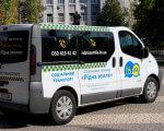 У Херсоні працює безкоштовне соціальне таксі. херсон, соціальна послуга, соціальне таксі, інвалідність, інклюзія, tree, outdoor, road, land vehicle, vehicle, truck, car, vehicle registration plate, transport, van. A van parked on the side of a road