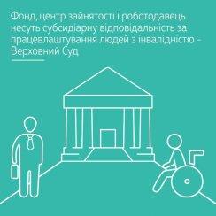Фонд, центр зайнятості і роботодавець несуть субсидіарну відповідальність за працевлаштування людей з інвалідністю