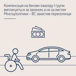 Компенсація на бензин інваліду І групи виплачується за законом, а не за листом Мінсоцполітики – ВС захистив переселенця
