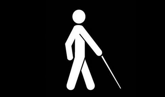 Полтавські сліпі: «Держава вперто не помічає нас і сама прикидається сліпою!». полтава, утос, незрячий, сліпий, інвалід, cartoon, design, abstract. A drawing of a cartoon character