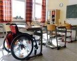 К инклюзивному образованию на Херсонщине еще бы и школьные лифты. херсонщина, доступность, инвалидность, инклюзивное образование, школа, floor, furniture, indoor, chair, wheel, table, mirror, clock, tire. A chair sitting in front of a window
