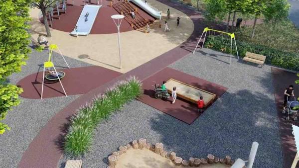 В Полтаве откроют парк, доступный для маломобильного населения. полтава, инвалидность, отдых, парк, спорт, tree, ground, outdoor, playground, screenshot, garden. A person in a garden