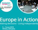 Начинается регистрация на конференцию Europe in Action 2019. литва, инклюзия, конференция europe in action 2019, ограниченные интеллектуальные возможности, регистрация, person, screenshot, poster. A man holding a sign