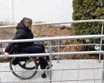 На Вінниччині облаштовують відділи обслуговування громадян для осіб з особливими потребами (ФОТО). вінниччина, пенсійний фонд, доступ, облаштування, інклюзивне середовище, outdoor, tree, person, clothing, bench, bicycle. A woman riding on the back of a bicycle