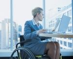 У Полтаві запрацювала «гаряча лінія» пошуку роботи для людей з інвалідністю. полтава, гаряча лінія, працевлаштування, роботодавець, інвалідність, person, sitting, man, laptop, clothing. A person sitting in a chair in front of a laptop