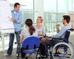 Бухгалтер, кухар, швачка, електрогазозварник – професії, які цьогоріч опановували громадяни з інвалідністю. кіровоградщина, адаптація, професійне навчання, центр зайнятості, інвалідність, person, wheelchair, clothing, chair, woman, cart. A group of people looking at a laptop