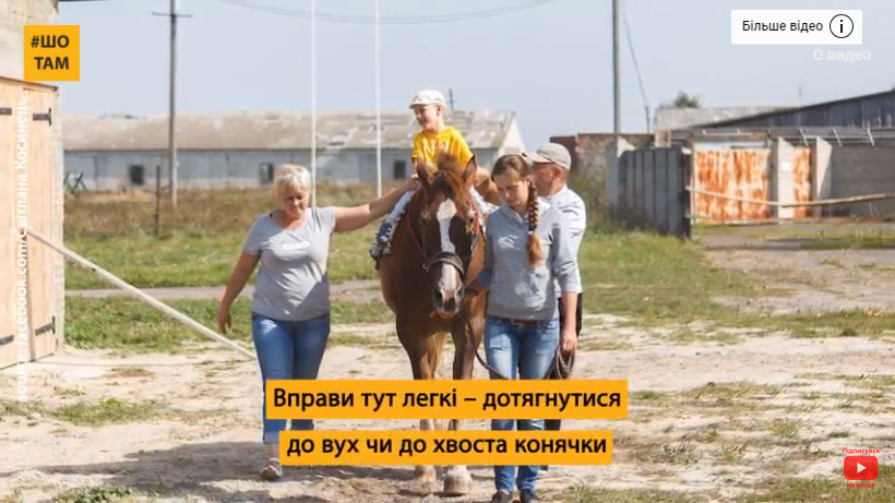 Як на Волині центр іпотерапії рятує діток із ДЦП (ВІДЕО). волинь, дцп, конюшня, лікування, іпотерапія, horse, outdoor, grass, sky, animal, sign, person, clothing, halter, bridle. A person holding a sign