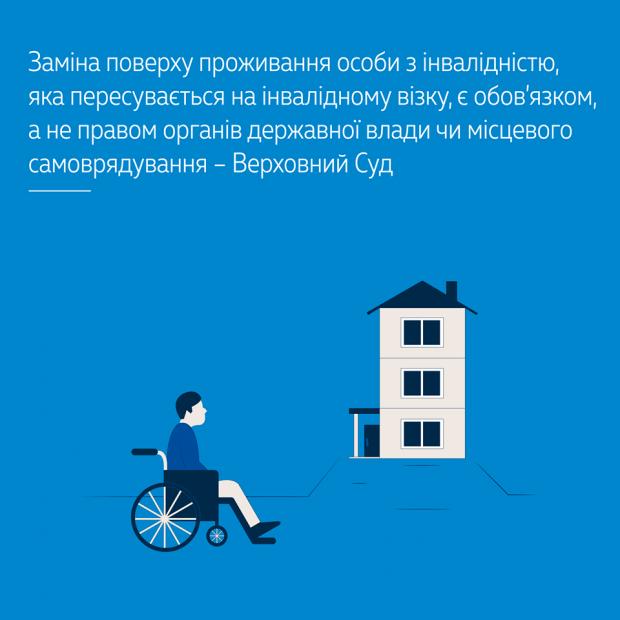 Заміна поверху проживання особи з інвалідністю, яка пересувається на інвалідному візку, є обов'язком, а не правом органів державної влади чи місцевого самоврядування – Верховний Суд ПОВЕРХ ПРИМІЩЕННЯ СУД ІНВАЛІДНИЙ ВІЗОК ІНВАЛІДНІСТЬ