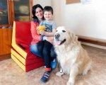 Когда у сына-аутиста начинается приступ агрессии, он подходит к любимому псу и успокаивается. полтава, аутизм, канистерапия, лечение, центр соняшник, dog, floor, indoor, sitting, carnivore, animal, toddler, person. A dog sitting on the floor