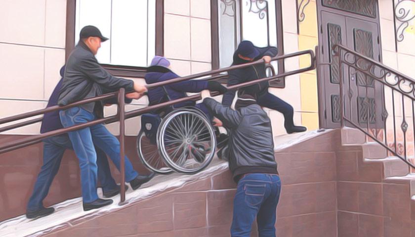 Де в Україні знайти Цар-пандус? Що з ним робити?. цар-пандус, доступність, інвалідний візок, інвалідність, інфраструктура, person, outdoor. A man sitting on top of a building