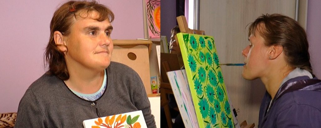 Малюють картини. Прикарпатки з інвалідністю Любов Оробець та Уляна Белей (ФОТО, ВІДЕО). любов оробець, оселя віри надії любові, уляна белей, картина, інвалідність