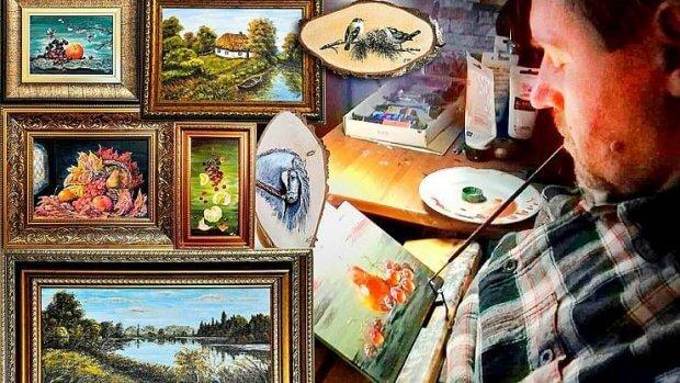 Пише картини, тримаючи пензлик зубами. петро гольонко, малювання, травма, художник, інвалідність