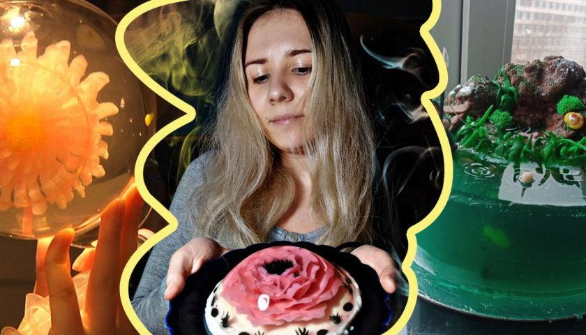 В Житомире девушка с глухотой создает витражи на тортах: секреты мастерства. глухота, дарья твардовская, діагноз, желе, инвалидность