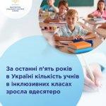 За останні п'ять років в Україні кількість учнів в інклюзивних класах зросла вдесятеро
